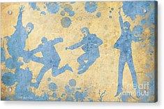 The Beatles Golden Blue Acrylic Print