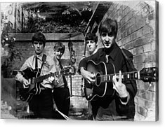 The Beatles In London 1963 Black And White Painting Acrylic Print