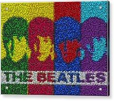 The Beatles Mm Candy Mosaic Acrylic Print by Paul Van Scott