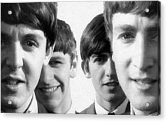 The Beatles Painting 1963 Black And White Acrylic Print