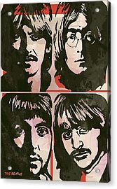 The Beatles Pop Stylised Art Sketch Poster Acrylic Print by Kim Wang