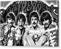 The Beatles Sgt. Pepper's Lonely Hearts Club Band Painting And Logo 1967 Black And White Acrylic Print