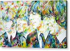 The Beatles - Watercolor Portrait.2 Acrylic Print by Fabrizio Cassetta