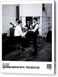 The Beatles With George Martin At Abbey Road. Acrylic Print