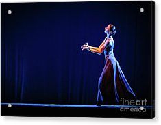 Acrylic Print featuring the photograph The Beautiful Ballerina Dancing In Blue Long Dress by Dimitar Hristov