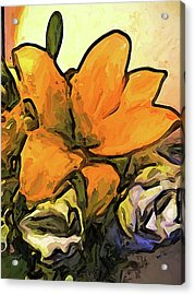 The Big Gold Flower And The White Roses Acrylic Print