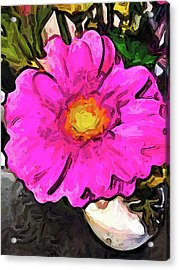 The Big Pink And Yellow Flower In The Little Vase Acrylic Print