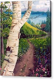 Acrylic Print featuring the painting The Birch by Renate Nadi Wesley
