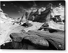 The Bisti Badlands - New Mexico - Black And White Acrylic Print by Jason Politte