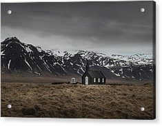 The Black Church, Iceland In Moody Weather Acrylic Print
