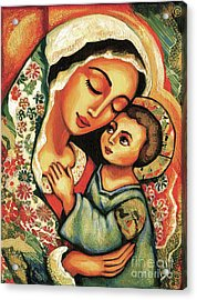 Acrylic Print featuring the painting The Blessed Mother by Eva Campbell