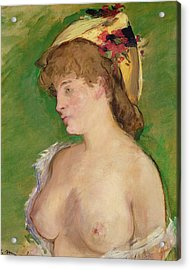 The Blonde With Bare Breasts Acrylic Print by Edouard Manet