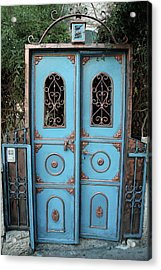 The Blue And Gold Door Of Jerusalem Acrylic Print by Yoel Koskas