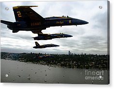 The Blue Angels Flying Over Seattle Acrylic Print by Celestial Images