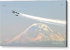 The Blue Angels Over Mount Rainier Seattle Acrylic Print by Celestial Images