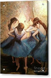 Acrylic Print featuring the painting The Blue Ballerinas - A Edgar Degas Artwork Adaptation by Rosario Piazza