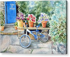 The Blue Bicycle Acrylic Print by Deborah Ronglien