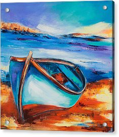 Acrylic Print featuring the painting The Blue Boat by Elise Palmigiani