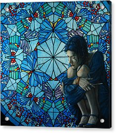 The Blue Caterpillar From Alice In Wonderland Acrylic Print by Jose Luis Munoz Luque