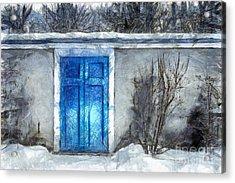 The Blue Door Beckons Pencil Acrylic Print by Edward Fielding