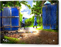 The Blue Gate Acrylic Print by Bob Salo