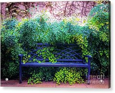 Acrylic Print featuring the photograph The Blue Park Bench by D Davila