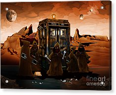 The Blue Phone Booth Was Stripped Down Acrylic Print by Three Second