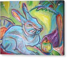 The Blue Rabbit Acrylic Print by Marlene Robbins