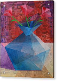 Acrylic Print featuring the painting The Blue Rose Vase - Mixed Media by Mark Webster