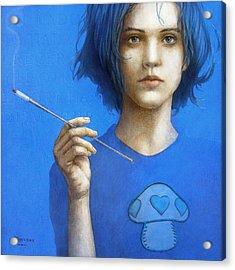 The Blue Smoker Caterpillar From Alice In Wonderland Acrylic Print by Jose Luis Munoz Luque