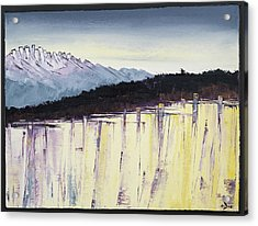 The Bluff And The Mountains Acrylic Print by Carolyn Doe
