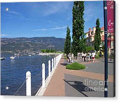 Acrylic Print featuring the painting The Boardwalk In Kelowna   by Rod Jellison