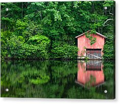 The Boat House At Desoto Falls Acrylic Print by Phillip Burrow