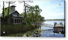The Boathouse At Watercolor Acrylic Print