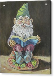 The Book Gnome Acrylic Print by Cheryl Pass