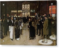 The Boulevard At Night Acrylic Print by Jean Beraud