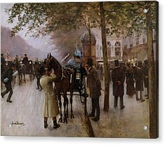 The Boulevards Acrylic Print by Jean Beraud