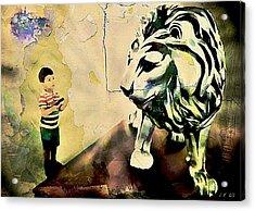 The Boy And The Lion Graffiti Creator,street-art Graffiti,street-art,graffiti Art Street,banksy Art, Acrylic Print