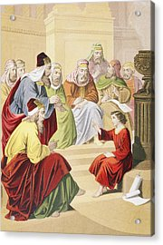 The Boy Jesus Debating With Priests And Acrylic Print by Vintage Design Pics