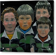 Acrylic Print featuring the painting The Boys Down The Street by Gail Finn