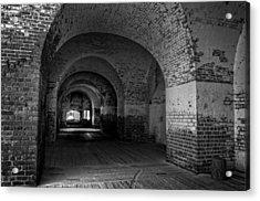 The Bricks Of Fort Pulaski In Black And White Acrylic Print