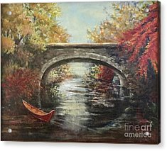 Acrylic Print featuring the painting The Bridge Fall by Gail Allen
