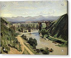 The Bridge Of Augustus Over The Nera Acrylic Print by Jean Baptiste Camille Corot