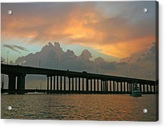 The Bridge To Galveston Acrylic Print by Robert Anschutz