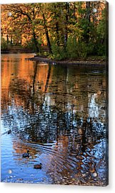 The Bright Colors Of Autumn, Quiet Evenings Are Reflected In The Waters Of The City Pond Acrylic Print