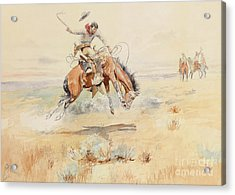 The Bronco Buster Acrylic Print by Charles Marion Russell
