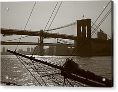 The Brooklyn And Manhattan Bridges Acrylic Print by Christopher Kirby
