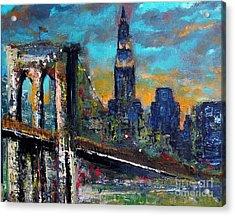 The Brooklyn Bridge Acrylic Print by Frances Marino