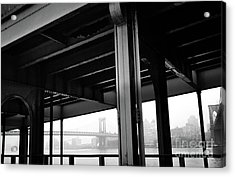 The Brooklyng Bridge And Manhattan Bridge From Fdr Drive Acrylic Print