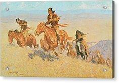 The Buffalo Runners Big Horn Basin Acrylic Print by Frederic Remington